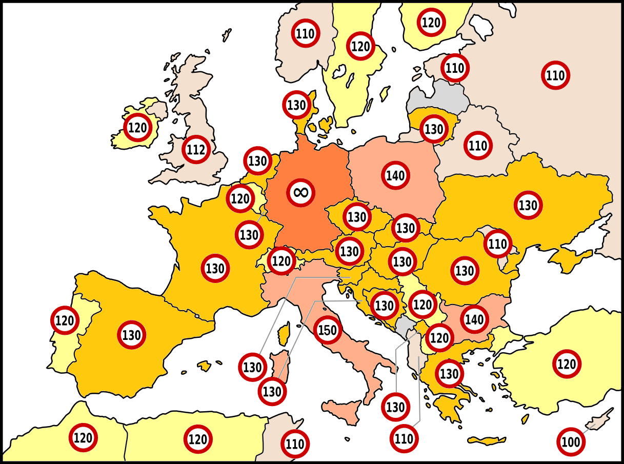 highest_possible_speed_limit_per_country_on_highways